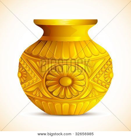 illustration of golden mangal kalash for hindu festival