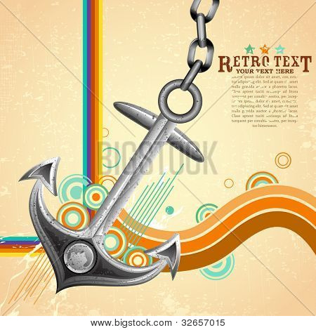 illustration of metal anchor on abstract retro background