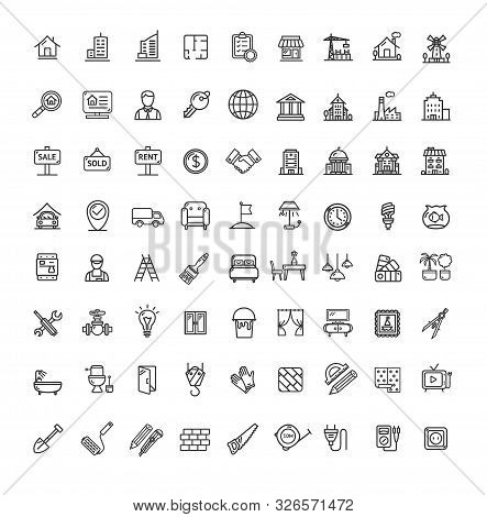 Real Estate Black Thin Line Icon Set Include Of House, Key, Magnifier And Bed. Vector Illustration O
