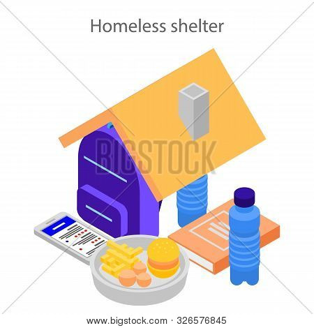 Homeless Shelter Concept Background. Isometric Illustration Of Homeless Shelter Vector Concept Backg