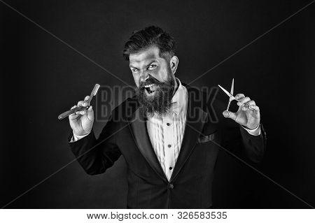 Sharp Blade. Hipster Handsome Bearded Wear Tuxedo. Barber Shop Concept. Shaving Dangerous Blade. Gro