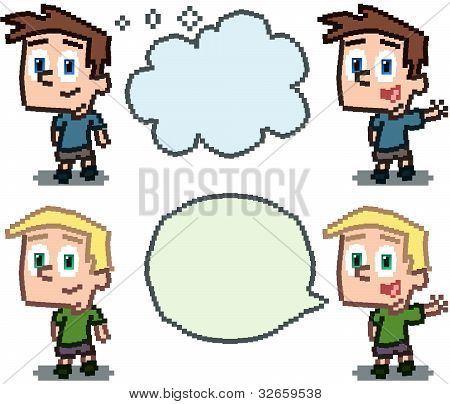 Pixel kids with word balloons