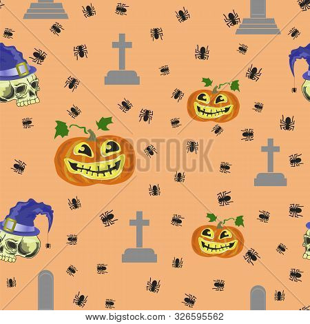 Halloween Decoration Seamless Pattern With Pumpkin Isolated On Orange Background.