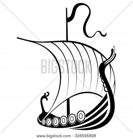 Viking Ship Sailing. Drakkar With A Dragons Head. Warship Of The Vikings
