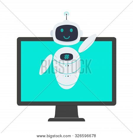 Robot Chatbot Icon Sign Flat Style Design Vector Illustration Isolated On White Background. Cute Ai