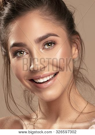 Fashion Art Studio Portrait Of Smiling Beautiful Young Woman. Female Brunette Model With Bright Deli