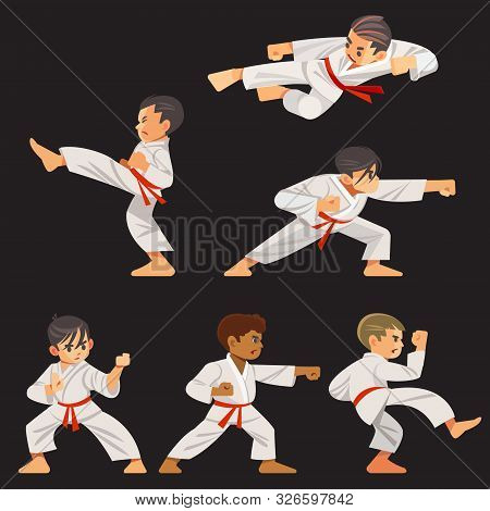 Set Of Karate Boys Characters In Different Positions. Character Set, Karate Workout.