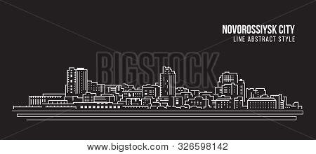 Cityscape Building Panorama Line Art Vector Illustration Design - Novorossiysk City