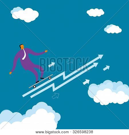 Businessman Is Surfing In Mid Air. The Background Is Blue.
