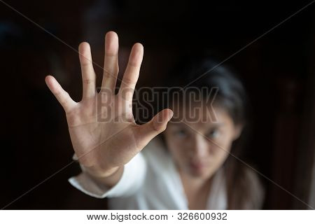 Stop Sexual Harassment And Violence Against Women, Rape And Sexual Abuse Concept,  Stop Gesture With