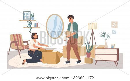 People Relocating To New Apartment Flat Vector Illustration. Man And Woman Cartoon Characters Packin