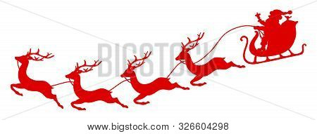 Curved Red Christmas Sleigh Santa And Four Flying Reindeers
