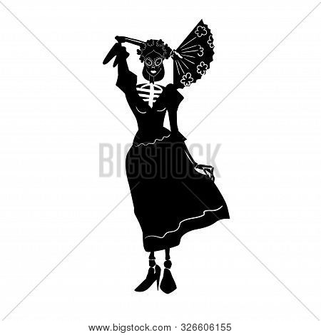 La Catrina. Dia De Los Muertos Skeleton Character With Fan. Black And White Isolated Silhouette With