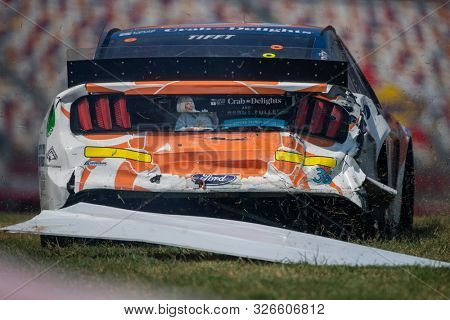 September 27, 2019 - Concord, North Carolina, USA: Matt Tifft (36) wrecks during practice for the Bank of America ROVAL 400 at Charlotte Motor Speedway in Concord, North Carolina.