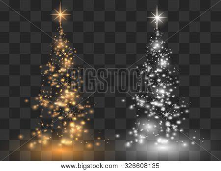 Illumination Lights Shiny Christmas Tree Isolated On Transparent Background. White Tree As Symbol Of
