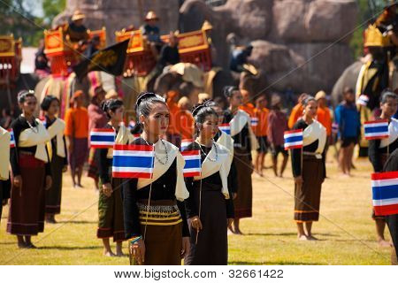 Surin Thai Dancers Flags Elephants