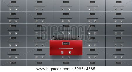 Bank Deposit Safe Boxes Wall, One Red Opened Locker With Number Plate, Tandem Keyholes On Steel Door