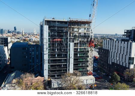 Melbourne, Australia - June 7, 2019: High Rise Commercial Construction Project On Flemington Road In
