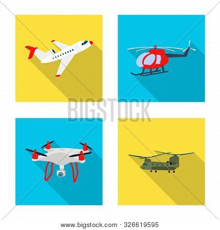 Vector Design Of Plane And Transport Icon. Set Of Plane And Sky Stock Vector Illustration.
