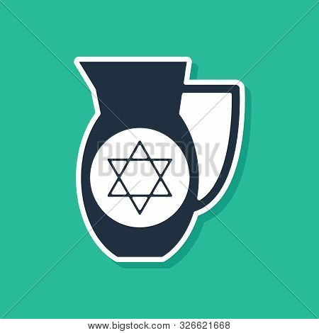 Blue Decanter With Star Of David Icon Isolated On Green Background. Pottery Jug. Organic Product In