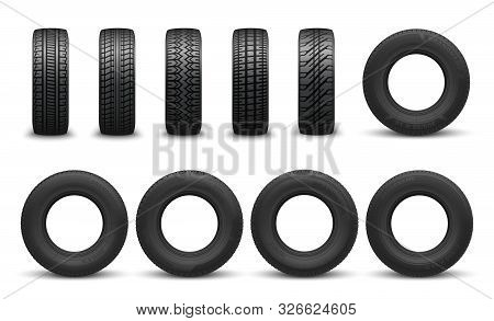 Car Tire In Vector, Front Side Views. Vector Vehicle Tyres, Round Component Surround Wheel Rim, Prov
