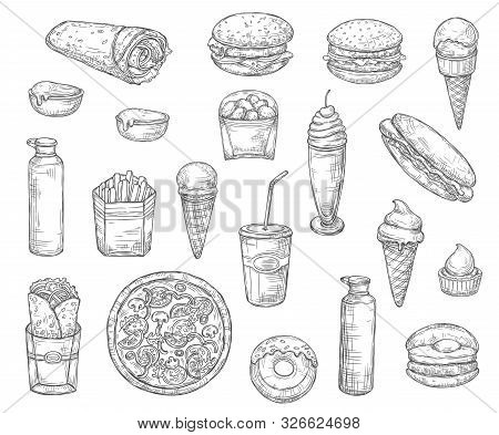 Fast Food Monochrome Sketch Icons. Vector Snacks And Desserts, Drinks And Pizza, French Fries, Coke
