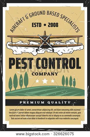 Pest Control, Crop Duster Biplane And Agricultural Field. Vector Airplane Spraying Pesticides And He