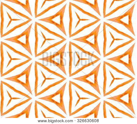 Orange Kaleidoscope Seamless Pattern. Hand Drawn Watercolor Ornament. Posh Repeating Tile. Precious