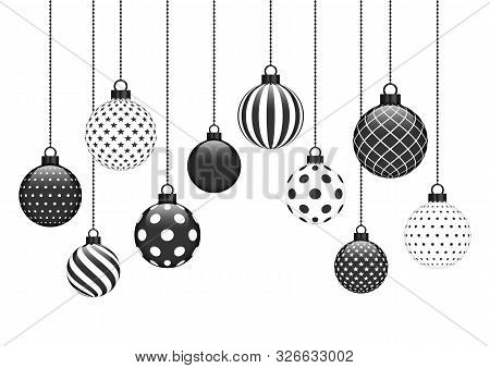 Ten Hanging Christmas Baubles With Different Pattern Black White