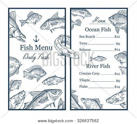 Fish Sketches And Anchor On Restaurant, Cafe Menu With Prices. Seafood Shop Or Store Retail. Hand Dr