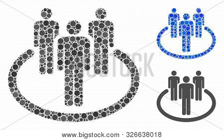 Community Mosaic For Community Icon Of Small Circles In Different Sizes And Color Tones. Vector Smal