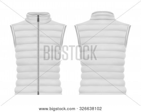 Front And Back View On Vest Jacket Or Sleeveless Puffer Closeup, Waistcoat Mockup. Warm Apparel With