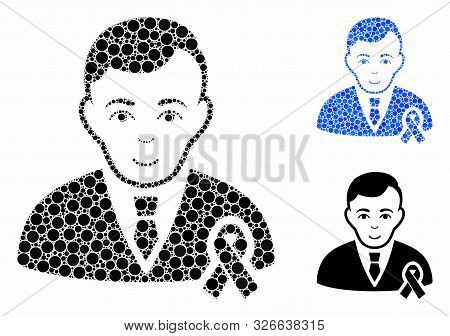 Gentleman with mourning ribbon mosaic for gentleman with mourning ribbon icon of round dots in variable sizes and color tints. Vector round dots are composed into blue illustration. poster