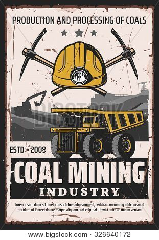 Coal Mining Industry, Production And Processing Of Ore, Vector Design. Work Tools Of Miner, Crossed