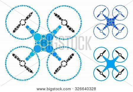 Air Copter Mosaic For Air Copter Icon Of Filled Circles In Different Sizes And Color Tints. Vector F