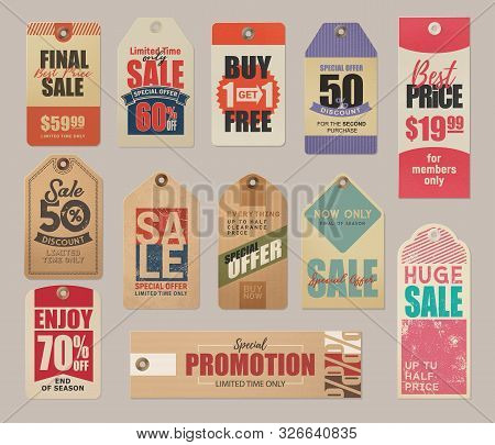 Final Sale Labels, Limited Time Special Offer, Best Price Retro Cards. Vector Fifty Percent Discount