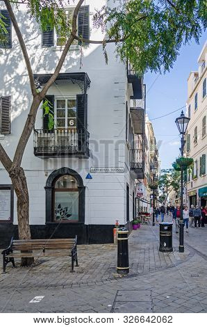 Gibraltar, British Overseas Territory -  November 8, 2018: View Of The Corner Of The Cathedral Squar