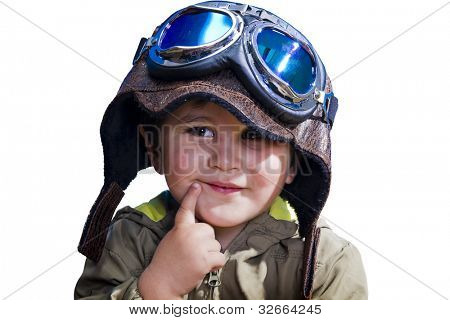 A baby pilot with huge hat and glasses, isolated.