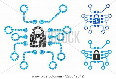 Cryptography Mosaic For Cryptography Icon Of Small Circles In Variable Sizes And Color Tones. Vector
