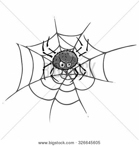 Spider On  Web Icon. Vector Spider Web With A Spider. Hand Drawn Spider And Web.
