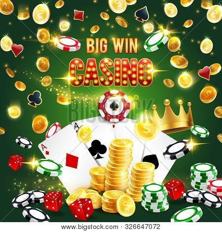 Casino Symbols, Big Win In Gambling Games. Vector Poker Playing Cards And Golden Crown, Stacks Of Bl