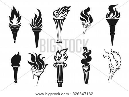 Fire Torch Vector Icons. Vector Burning Flames, Symbols Of Competition, Marathons And Rally Races, S