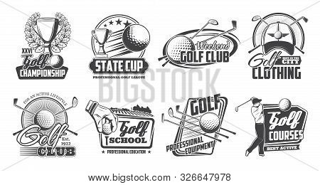 Golf Club Equipment And Payers, Vector Icons. Sport Game Items Ans Cup Award With Laurel Wreath. Tee
