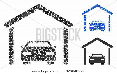 Car Garage Composition For Car Garage Icon Of Circle Elements In Different Sizes And Shades. Vector