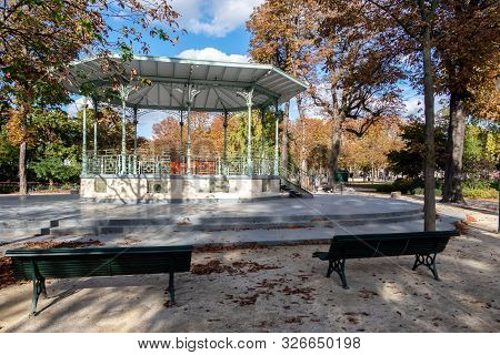 Paris, France - October 07 2019: Music Kiosk In The Jardin Des Champs Elysees.