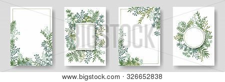 Rustic Invitation Cards With Herbal Twig Branches Wreath And Corners Border Frames. Rustic Vintage B