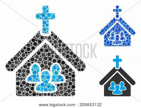 Church People Mosaic For Church People Icon Of Round Dots In Variable Sizes And Shades. Vector Round