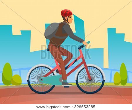 Man On Bike, Bicyclist In City. Healthy Lifestyle Of Character Wearing Helmet, Male On Bicycle, Cycl