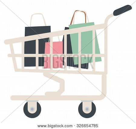 Cart With Bags And Packages, Isolated Shopping Trolley From Shop With Bought Products. Customers Pur