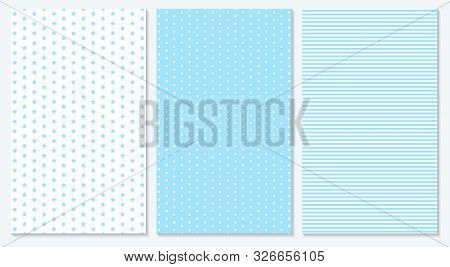 Baby Background. Blue Pattern. Vector Illustration. Polka Dot, Stripes, Stars Pattern.